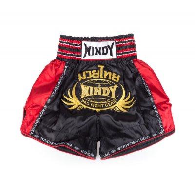Шорты для тайского бокса Windy - Черно-красно-золотые
